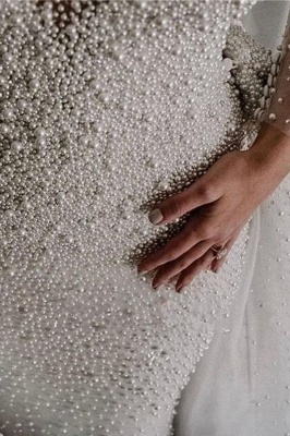 Ivory Long Sleeves V-neck Button Overall Covered Pearls Wedding Dresses with Detachable Train_6