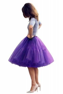 Elegant Tulle Short Ball-Gown Knee Length Elastic Women Skirts_69
