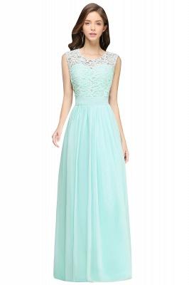 Elegant Sheath Crew Sleeveless Lace Top Chiffon Bridesmaid Dress_4