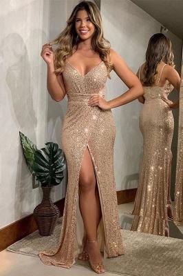 Sparkle Spaghetti Strap Sweetheart Front Slit Sequined Floor Length Sheath Prom Dresses_1