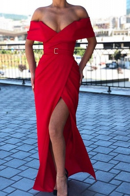 Sexy Red Off-the-shoulder Front Slit Sheath Floor Length Prom Dress | Cheap Evening Gown_1