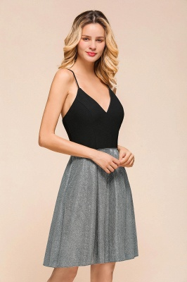 Sexy Black Spaghetti Strap Deep V Neck Criss Cross A Line Short Homecoming Dresses_8