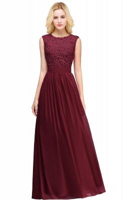 Elegant Sheath Crew Sleeveless Lace Top Chiffon Bridesmaid Dress_5