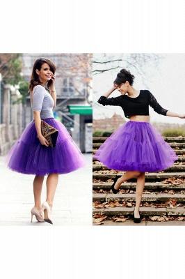 Elegant Tulle Short Ball-Gown Knee Length Elastic Women Skirts_68