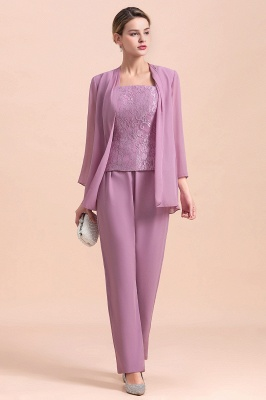 Lilac Chiffon Cheap Mother of Bride Pant Suits with Half Sleeves Jacket_6