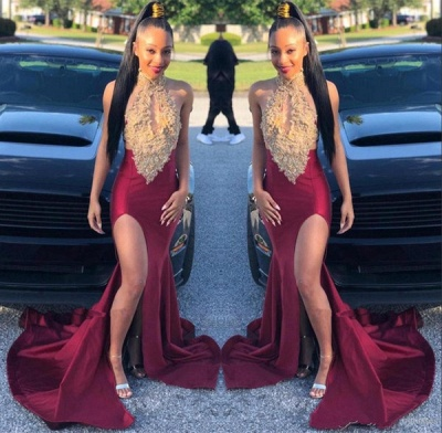 Alluring Halter Sleeveless Applique Side Slit Mermaid Prom Dresses | Sexy Evening Dresses_2