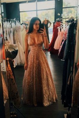 Brilliant Strap V Neck Sleeveless Sequin Beading A Line Floor Length Prom Dresses_2