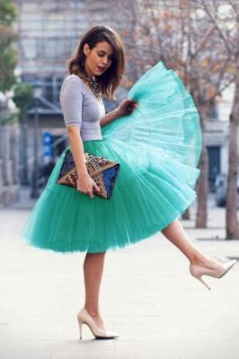 Elegant Tulle Short Ball-Gown Knee Length Elastic Women Skirts_58