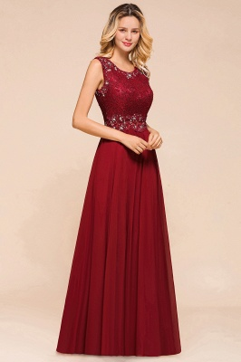 Burgundy Jewel Sleeveless Applique Lace Floor Length Prom Dresses | Beading Cheap Party Dresses_4