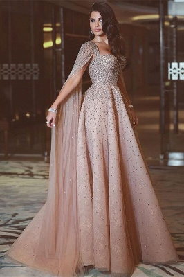 Luxury Straps Sweetheart Jewel A Line Floor Length Cheap Prom Dresses With Cape | Beaded Party Dresses_1