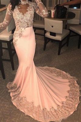Luxury High Neck Long Sleeve Applique Beading Mermaid Prom Dresses_1