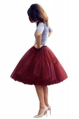 Elegant Tulle Short Ball-Gown Knee Length Elastic Women Skirts_43