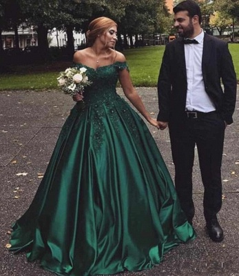 Dark Green Off The Shoulder Sweetheart Appliques Beading Ball Gown Prom Dresses | Ruffles Formal Party Evening Dresses_5