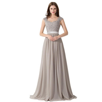 Cheap A-line V Neck Chiffon Bridesmaid Dress with Appliques in Stock_1