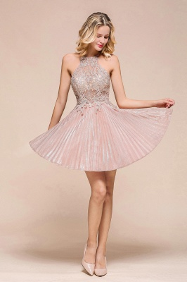 Pink Halter Lace Applique Lace A Lline Short Homecoming Dresses | Beackless Cocktail Dresses_6
