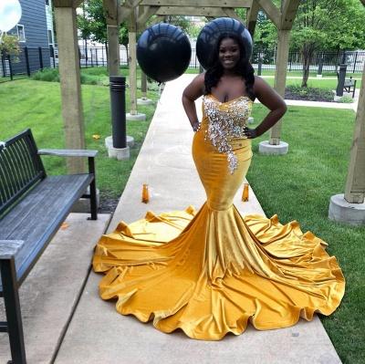 Strapless Yellow Velvet Appliques Mermaid Prom Dresses_4