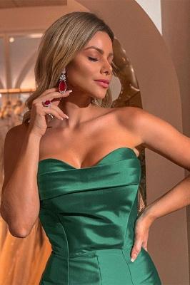 Green Strapless Front Slit Ruffles Mermaid Floor Length Prom Dresses | Formal Evening Dresses_2
