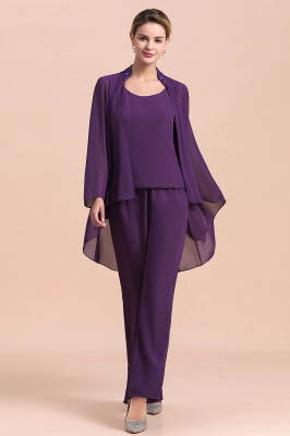 Grape Chiffon Mother of Bride Jumpsuit with Long-Sleeve Jacket_8