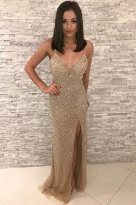 Golden Sparkle Spaghetti Strap V Neck Sleeveless Sequined Front Slit Sheath Prom Dresses | Floor Length Formal Evening Dresses_1