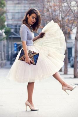 Elegant Tulle Short Ball-Gown Knee Length Elastic Women Skirts_62