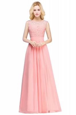 Elegant Sheath Crew Sleeveless Lace Top Chiffon Bridesmaid Dress_6