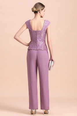 Lilac Chiffon Cheap Mother of Bride Pant Suits with Half Sleeves Jacket_11