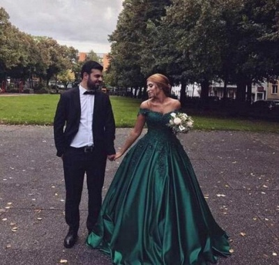 Dark Green Off The Shoulder Sweetheart Appliques Beading Ball Gown Prom Dresses | Ruffles Formal Party Evening Dresses_3