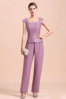 Lilac Chiffon Cheap Mother of Bride Pant Suits with Half Sleeves Jacket_7