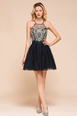 Latest Halter Applique Lace Short A Line Homecoming Dresses | Backless Cocktail Dresses_1