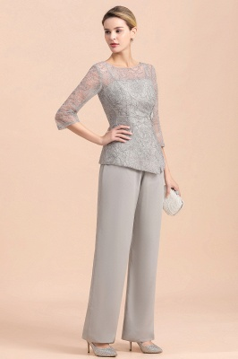 Elegant Smokey Blue Round Neck Half Sleeves Lace Mother of Bride Pants Suits_5