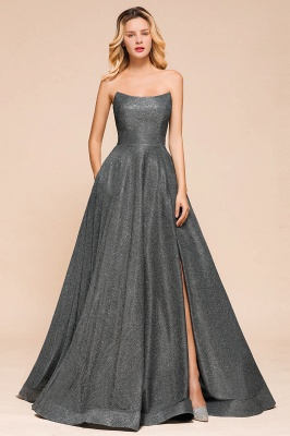 Attractive Strapless Front Slit A Line Prom Dresses | Criss Cross Sequined Evening Dresses_1