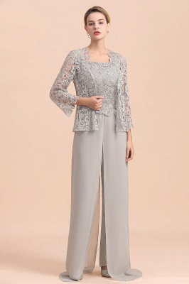 Elegant Silver Chiffon Mother of Bride Pants Suits with Lace Jacket_4