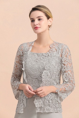Elegant Silver Chiffon Mother of Bride Pants Suits with Lace Jacket_7