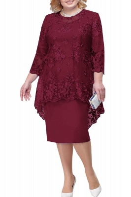 Tulle Lace 3/4 Sleeves Knee Length Mother of Bride Dress_1