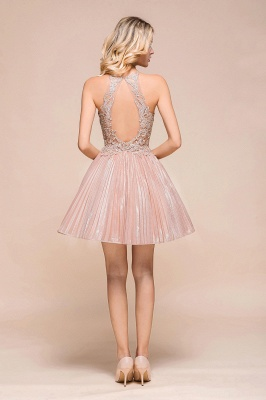 Pink Halter Lace Applique Lace A Lline Short Homecoming Dresses | Beackless Cocktail Dresses_3