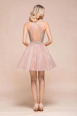 Pink Halter Lace Applique Lace A Line Short Homecoming Dresses | Backless Cocktail Dresses_3