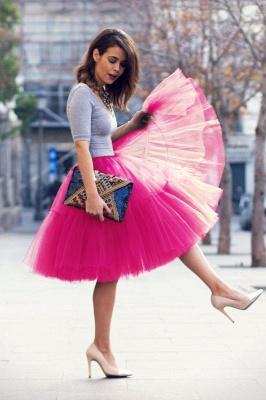 Elegant Tulle Short Ball-Gown Knee Length Elastic Women Skirts_55
