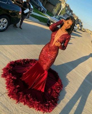 Jewel Sheer Long Sleeves Sequin Mermiad Prom Dresses with Fur_3
