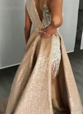 Alluring Jewel Sleeveless Applique Beading Prom Dresses | Sequined A Line Evening Gown_2