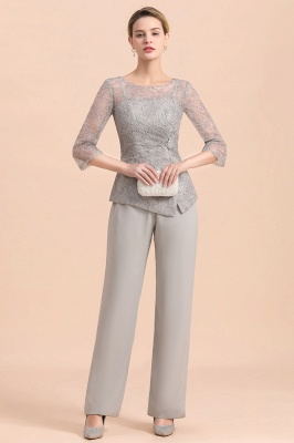 Elegant Smokey Blue Round Neck Half Sleeves Lace Mother of Bride Pants Suits_4