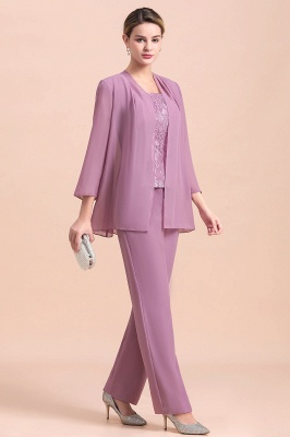 Lilac Chiffon Cheap Mother of Bride Pant Suits with Half Sleeves Jacket_4