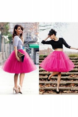 Elegant Tulle Short Ball-Gown Knee Length Elastic Women Skirts_53