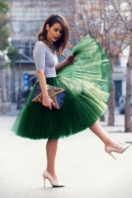 Elegant Tulle Short Ball-Gown Knee Length Elastic Women Skirts_60