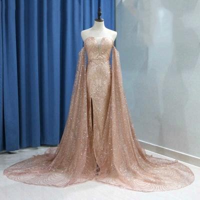 Deep V-neck Off The Shoulder Front Slit Sequined Backless Prom Dresses | Fitted And Flare Evening Dresses_5
