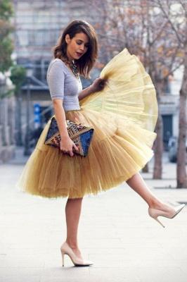 Elegant Tulle Short Ball-Gown Knee Length Elastic Women Skirts_46