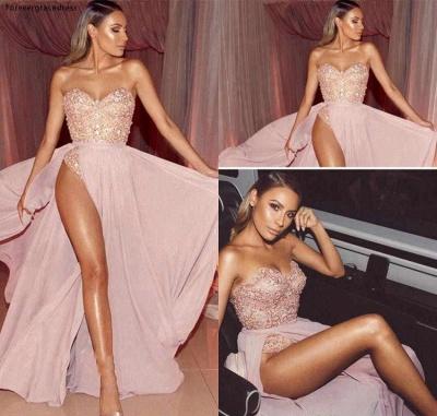 Pink Sweetheart Strapless Applique Beaded Front Slit Floor Length A Line Prom Dresses | Sexy Cheap Evening Dresses_3