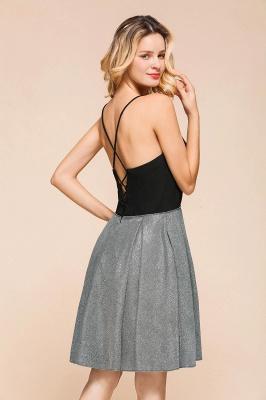 Sexy Black Spaghetti Strap Deep V Neck Criss Cross A Line Short Homecoming Dresses_9