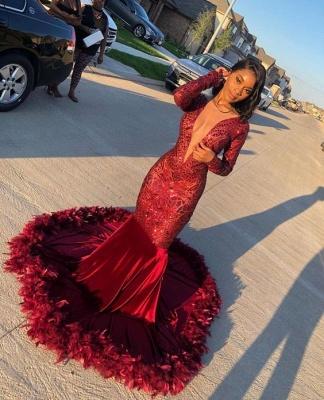 Jewel Sheer Long Sleeves Sequin Mermiad Prom Dresses with Fur_2