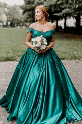 Dark Green Off The Shoulder Sweetheart Appliques Beading Ball Gown Prom Dresses | Ruffles Formal Party Evening Dresses_2