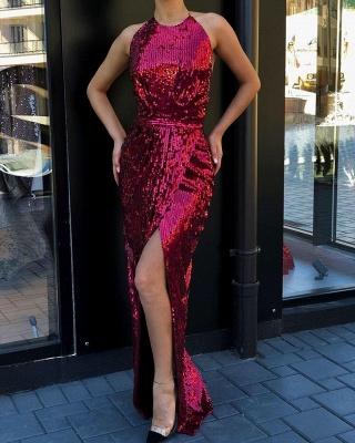 Alluring Halter Sleeveless Sequined Front Slit Floor Length Sheath Prom Dresses_2